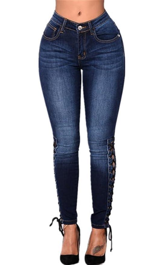 25bddc00b37bf0 Amazon.com: KAITUOZHE Women High Waisted Skinny Stretch Side Lace up ...