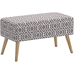 """Otto & Ben 30"""" Storage Bench - Mid Century Ottoman with Easy Lift Top, Upholstered Shoe Ottomans Seats for Entryway and Bedroom, Moroccan Grey"""