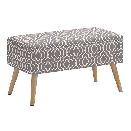 51Th1mlSLFL - Otto & Ben 30 Inch Storage Ottoman Bench with Easy Lift Top Upholstered Mid Century Shoe Entryway and Bedroom, Moroccan Grey