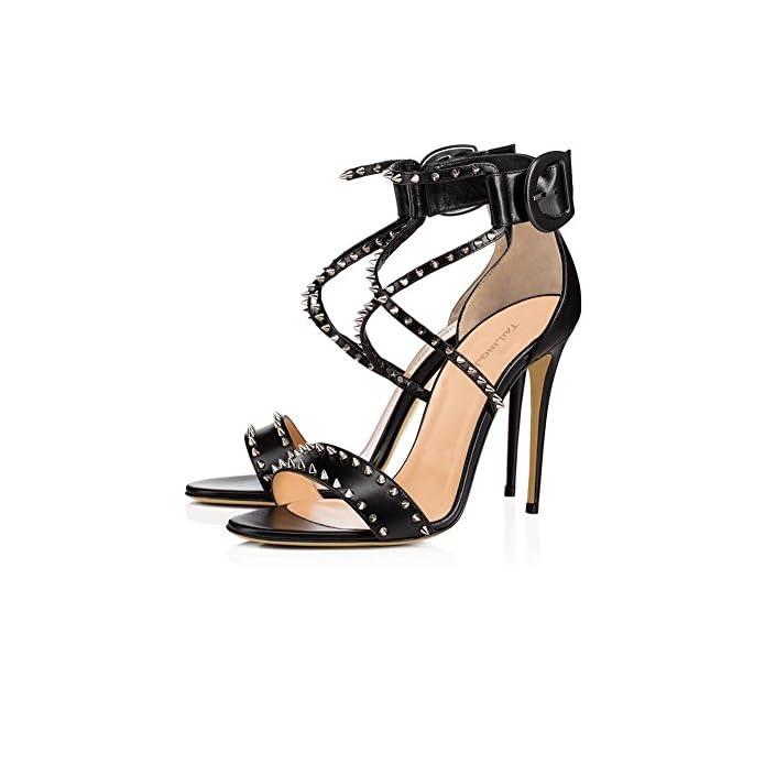 Donna Sexy Caviglia Cinghia Le Signore Sbirciare Dito Del Piede Stiletto Alto Tacco Nero Rivetto Sandali Scarpe Festa Vestito Discoteca Black Eur 42 Uk 8 5