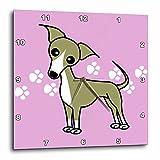 3dRose Cute Italian Greyhound Fawn Tan Purple Pawprint Background - Wall Clock, 10 by 10-Inch (DPP_12096_1)