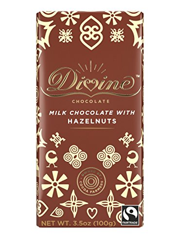 Divine Chocolate Bar, Hazelnut Milk Chocolate, 3.5 Ounce (Pack of 10)