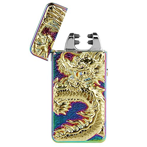 indproof Cross Arc Lighter, USB Rechargeable Flameless Electronic Pulse Arc Cigarette Lighter, Mix Color (Cool Dragon)