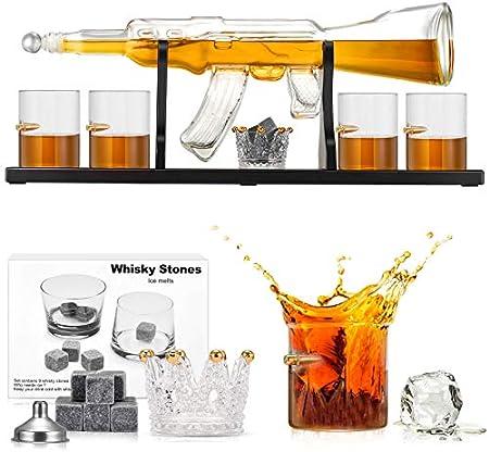 KOSIEJINN Juego De Decantador De Whisky Rifle Decantador Set Con Cuatro Vasos De Vidrio y Piedras De Whisky Para Scotch, Brandy, Bourbon Decantador De Cristal Para Decoración y Grandes Regalos
