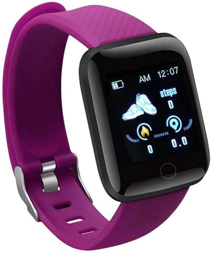 DDS Pantalla Color Ajustes Pulsera, de 1,3 Pulgadas de presión de frecuencia cardíaca/Sangre/Reposo A6S Impermeable, USB Directo de Carga Superior App, Inteligente Reloj Pulsera,C