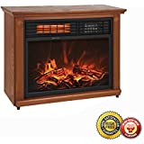 New Large Room Infrared Quartz Electric Fireplace Heater Honey Oak Finish w/ Remote