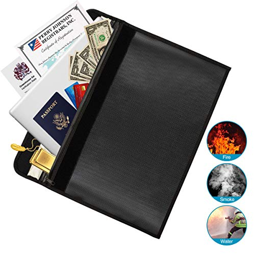 Fireproof Document Bags Waterproof Money Envelope Zipper Closure for Cash Valuables Jewelry Documents Safe Storage Holder Large Size 15