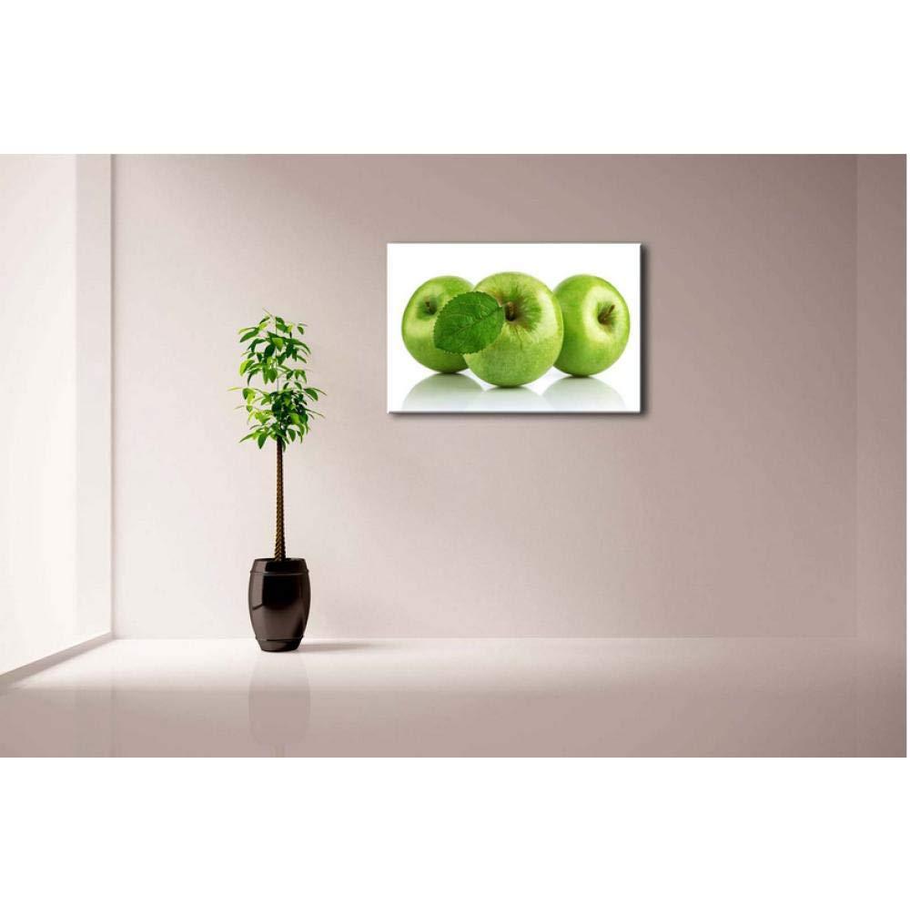 50cmx1 Abstracta Cuadros de Arte de Pared enmarcados Hoja de Manzana Verde Impresi/ón de Lienzo Comida Carteles Modernos con Marcos de Madera para la decoraci/ón de la Sala de Estar en el hogar-40