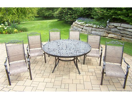Oakland Living Cascade 7-Piece Set with 60-Inch Round Table and 6 Stackable Chairs