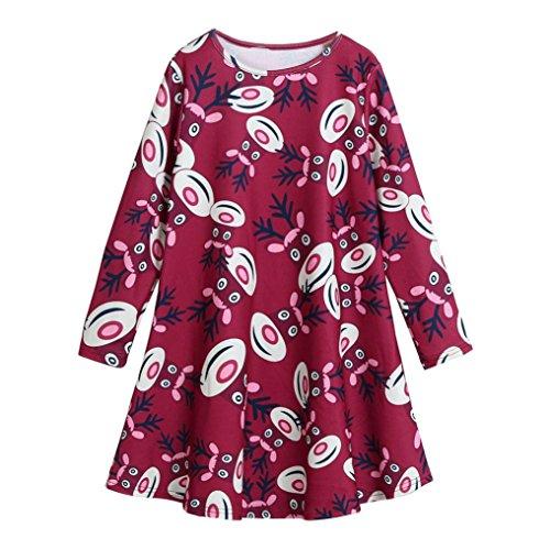 (Toddler Kid Baby Girl Christmas Cute Dress, Keepfit Cute Party Princess Dress Printing Santa Claus, Snowmen, Reindeer and Snowflake (Wine Red,)