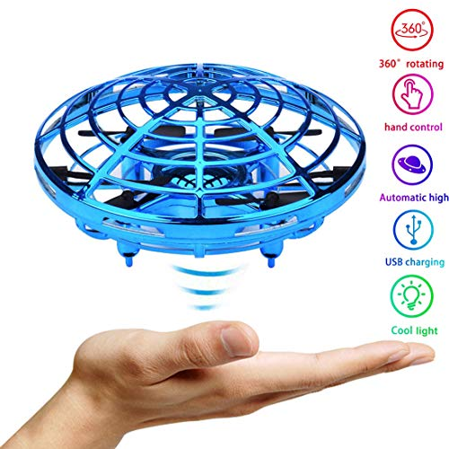 JTORD UFO Flying Toys for Kids Boys Hand-Controlled Flying Ball Interactive Infrared Induction Helicopter Ball 360° Rotating Shinning LED Lights Toys Gifts for Boys Girls Kids(Blue) by JTORD (Image #7)
