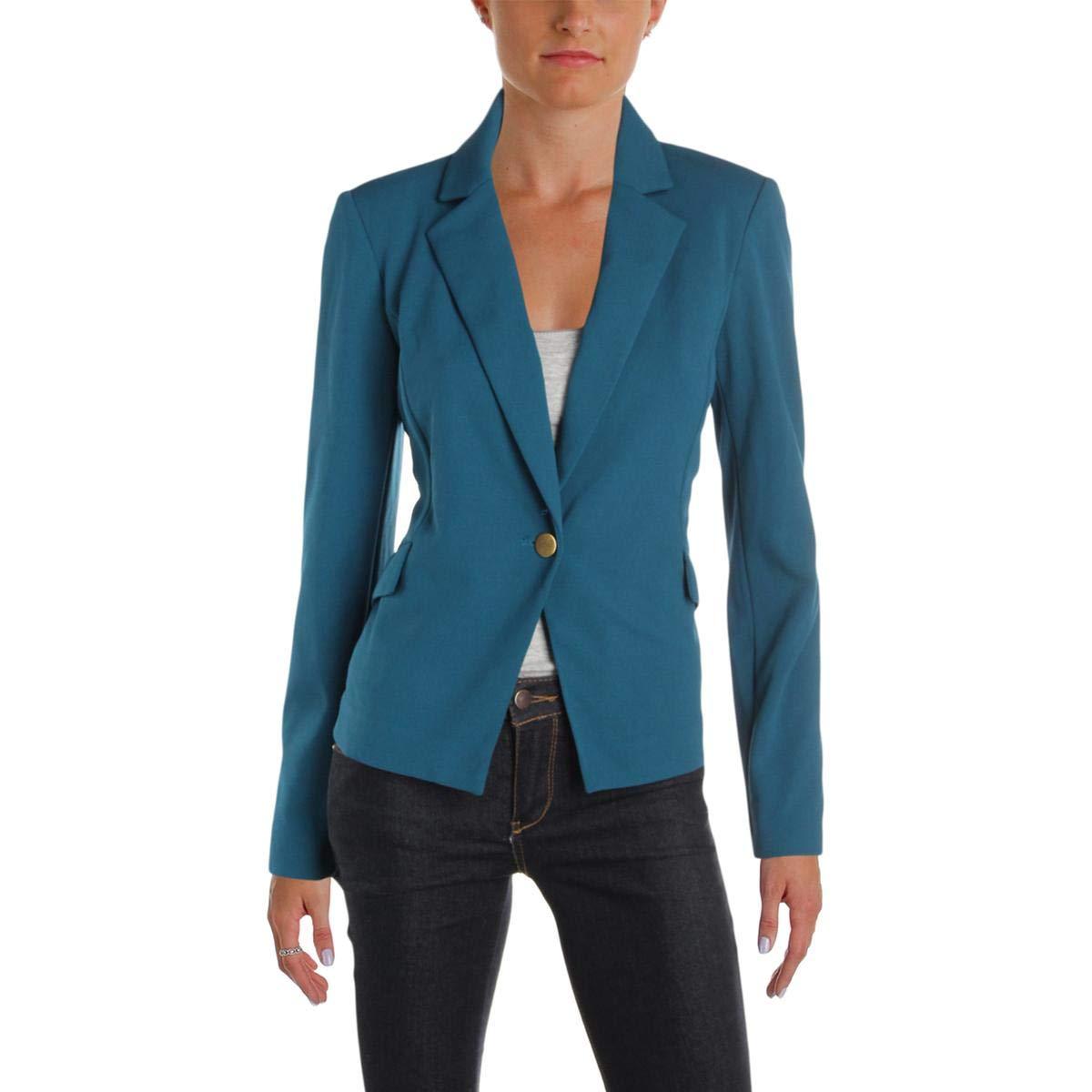 Calvin Klein Women's Petite One Button Jacket in Scuba Crepe, Cypress 6P