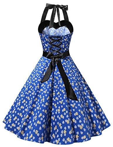 Retro Dots Audrey Dress Cocktail Rockabilly Dress Halter Royal Polka Blue 50s Dresstells® Flower wIxRX0qfY