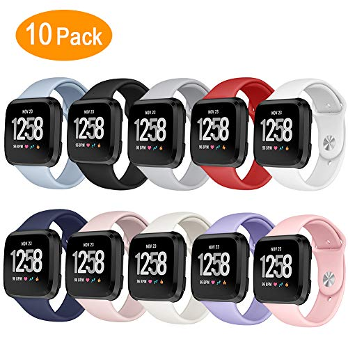 Kmasic Sport Band Compatible Fitbit Versa, Soft Silicone Strap Replacement Wristband Fitbit Versa Smart Fitness Watch, Large Small (10 Packs, Small)