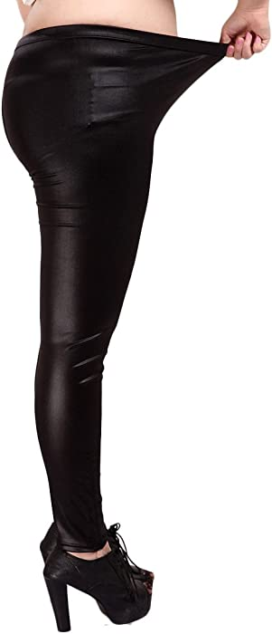 6eb36b1d5dbc YMING Sexy Women Matte Liquid Legging Faux Leather Legging Plus Size Black  Size S