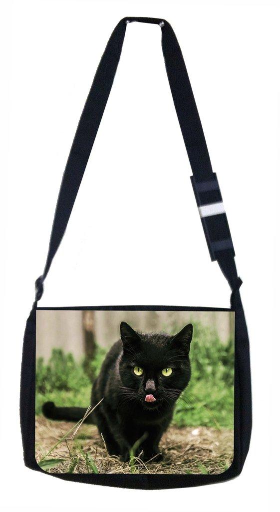 Kitty Sticking Out its Tongue Lea Elliot TM School Messenger Bag