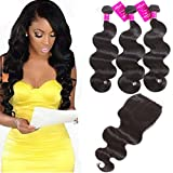 Cheap Brazilian Body Wave with Closure Unprocessed Brazilian Virgin Hair with Closure Ubuty 3 Bundles Human Hair Weave with Lace Closure- Natural Color 10 12 14 + 10