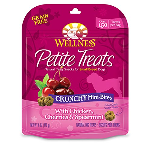 Crunchy Bites (Wellness Petite Treats Small Breed Crunchy Natural Grain Free Dog Treats, Chicken & Cherries, 6-Ounce Bag)