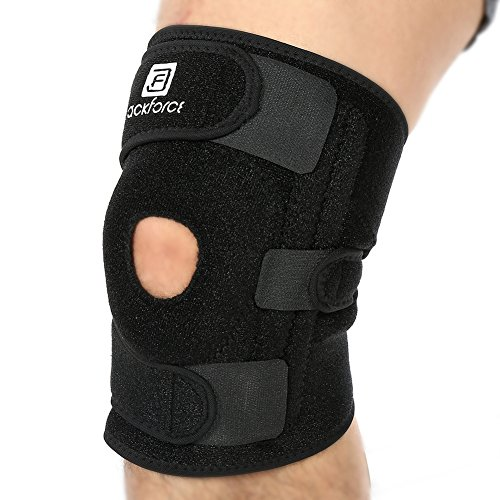 (Jackforce Knee Brace Sleeve Support with Anatomically Pads Surrounds the Kneecap, Dual Side Stabilizer/Four Implanted Stainless Steel Springs, Women/Men)