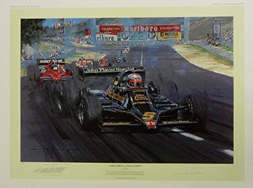 Mario Andretti World Champion- Racing Print Autographed By Mario Andretti