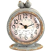 Two Birds Table Clock, 6.25Hx4.75Wx2.5D, DISTRESSED GREY