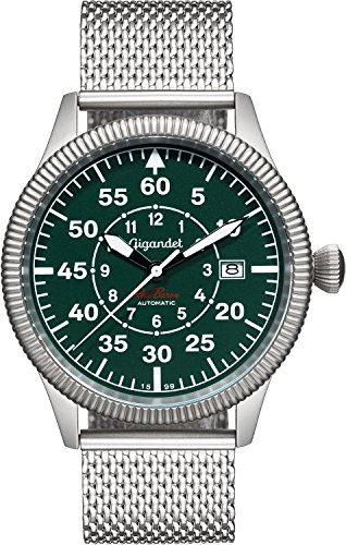 Gigandet Men's Automatic Aviator Watch Red Baron Analog Stainless Steel Silver Green G8-010