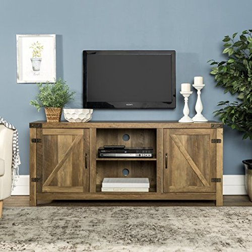 New 58 Inch Door Television Stand with Side Doors in Rustic Oak Finish