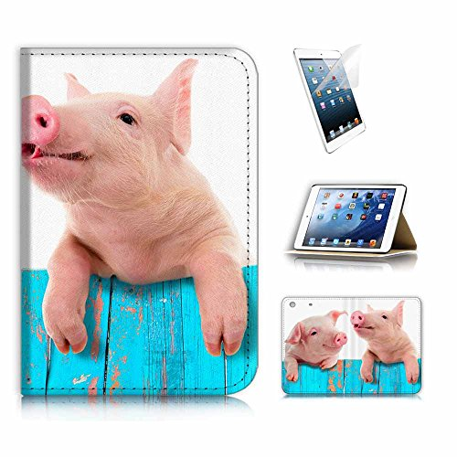 ( For iPad Mini 1/2/3 , Generation 1/2/3 ) Flip Wallet Case Cover & Screen Protector Bundle! A8645 Cute Baby Pig (Best Baby Wipes Australia)