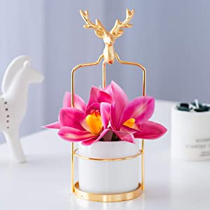 Artificial Flower in Vase with Led Lights and Golden Deer State, Home Decor 3 in 1 (Rosy Orchid, White Ceramic)