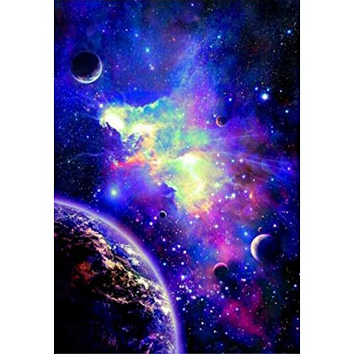 Plant Falls Crafts Graphy 5D DIY Diamond Painting Kits for Adults Full Drill - Circular Drill, Starry Night, 12 x 16 -