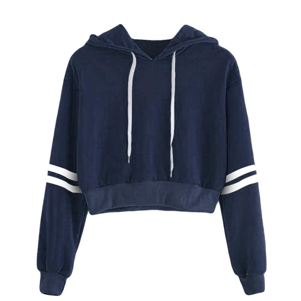 Women Hoodie Long Sleeve Pullover Teen Girls Cute Crop Tops Striped Print Sweatshirts Casual Jumper Blouse Shirts