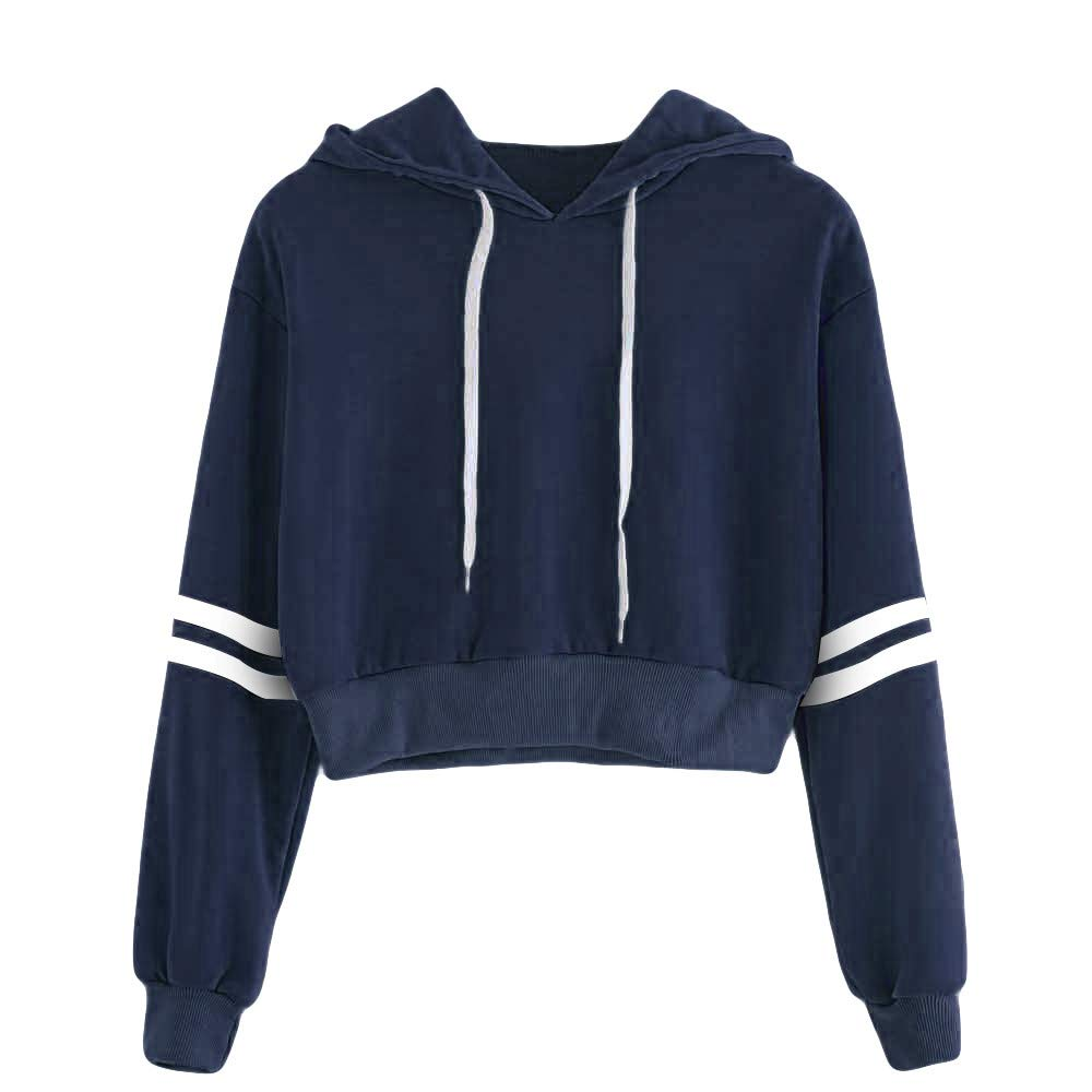 Forthery Clearance Womens Hoodie Sweatshirt Striped Crop Pullover Tops Drawstring Outwear(Dark Blue, Large)