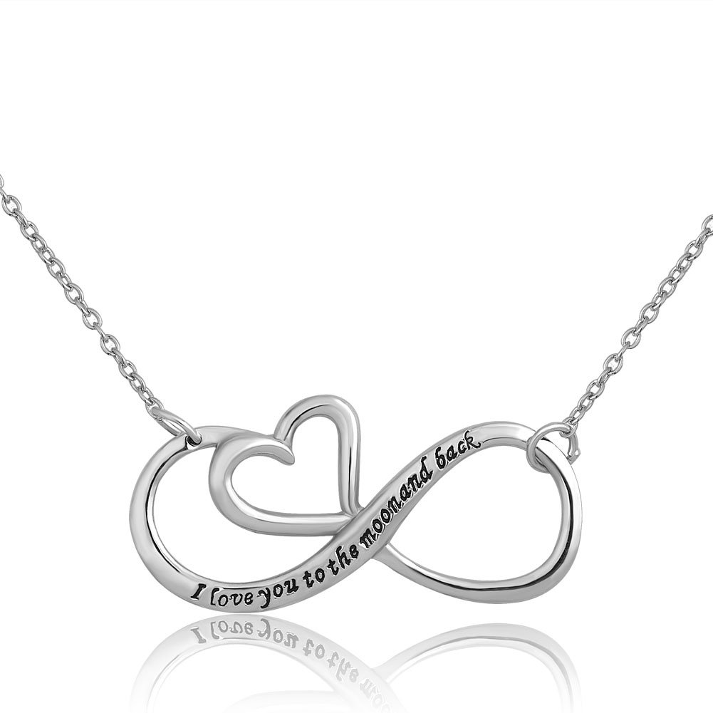CandyCharms I Love You To The Moon And Back Sterling Silver Infinity Heart Pendant Necklaces