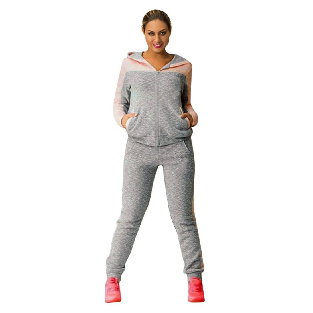 HOMEBABY Women Sports Hooded Sweatshirt Suits, Ladies 2Pcs Tracksuit Casual T-Shirt Tops Gym Yoga Workout Mid Waist Running Pants 2 Piece Outfit Sport Wear Suit Sweatpants