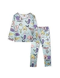 ModaIOO Girls Unicorn Dinosaur Pajamas Kids 2Piece Long Sleeve Sleepwear Set