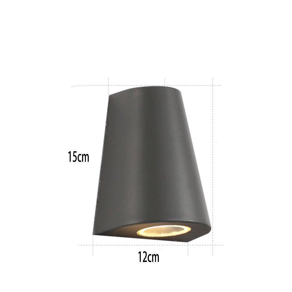 Fufu faretti da esterno IP65 impermeabile lampada da parete all' aria aperta in alluminio e vetro Square Lawn Light Nero, Grigio grigio
