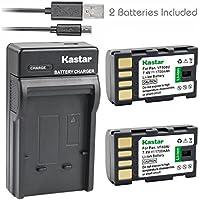 Kastar Battery (X2) & Slim USB Charger for JVC BN-VF808, BN-VF808U, BNVF808 and JVC Everio GZ-MG130 148 150 155 175 255 275 575 GZ-HD7 GR-D745 746 750 760 770 771 775 790 796 JVC MiniDV + More