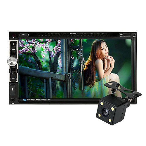 KKmoon Universal HD 7.0'' Touch Screen 2 Din In-Dash Car Stereo DVD CD BT Receiver and Player Multimedia Radio Entertainment Support USB / TF FM Aux Input TV with HD Rear View Camera