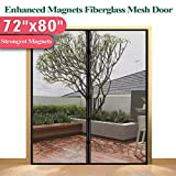 Mkicesky [Upgrade Version] Fiberglass Magnetic Screen Door, Double Patio Mesh Cover for French/Sliding Full Frame Hook&Loop Fit Door Up to 70