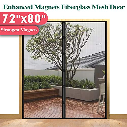 - [Upgrade Version] Fiberglass Mesh Magnetic Screen Door Curtain, Mkicesky Double Patio Mesh Cover for French/Sliding Door with Full Frame Hook&Loop Fit Door Up to 70