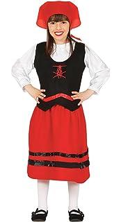 Guirca Disfraz infantil de pastorcita Color rojo 5-6 años 42100.0