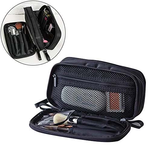 (Makeup Handbag Travel Cosmetic Bags Brush Pouch Toiletry Kit Fashion Women Jewelry Organizer with Double zipper Brush Holders Carry Case Portable Cube Purse (1pcs))