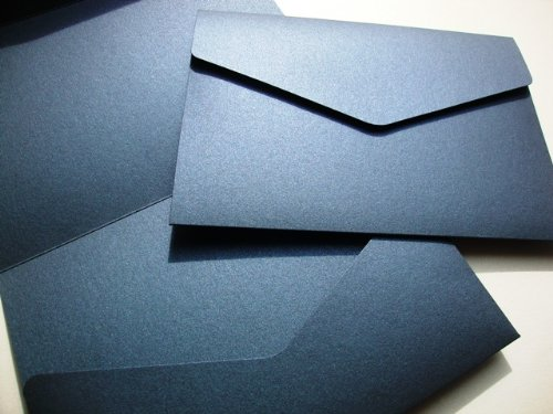 Cranberry Card Company A5 Pearlescent Pocketfold Blank Wedding Invites/Wedding Wallets/A5 Card - With Plain White 100Gsm Envelopes (50, Navy Blue)