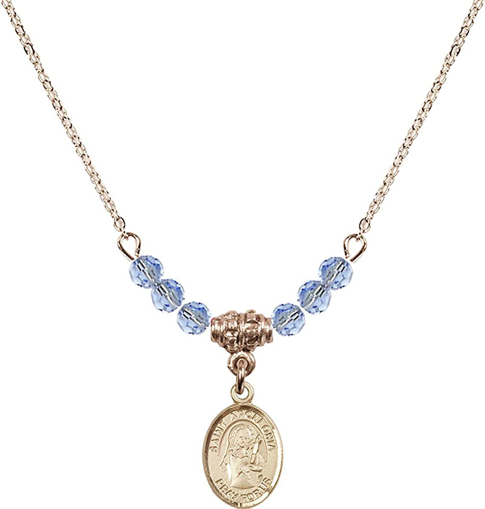 18-Inch Hamilton Gold Plated Necklace with 4mm Light Sapphire Birthstone Beads and Gold Filled Saint Apollonia Charm.