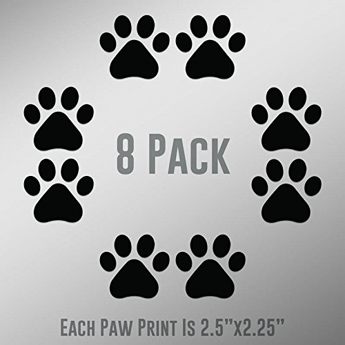 - DD894 Dog Paw Prints 8-Pack | Each paw 2.5-Inches By 2.25-Inches | Premium Quality Black Vinyl