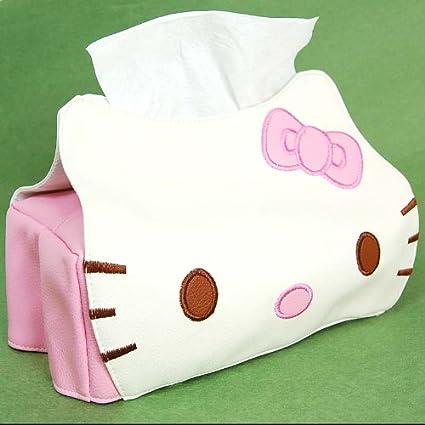Amazon.com  Hello Kitty Head Shaped Tissue Box Cover White  Home ... a30a1eca4383a