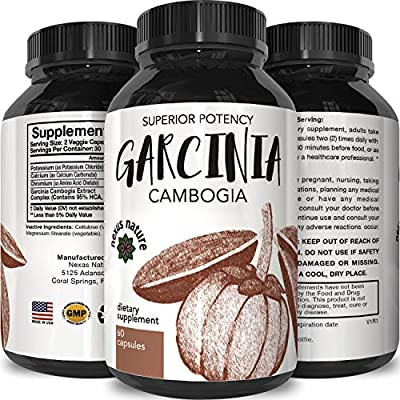 Pure 95% HCA Garcinia Cambogia Extract, #1 Premium Formula for Weight Loss & Appetite Suppression - Highest Grade, Best Premium Quality - Calcium Free - USA Made By California Products