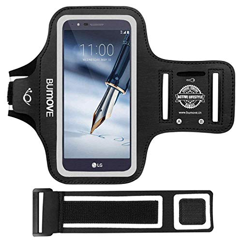 LG Stylo 4/3/2, V40/V50 ThinQ Armband, BUMOVE Gym Running/Workouts Arm Band for LG Stylo 4/3/2, Stylo 4 Plus/3 Plus/2 Plus, LG V40/V50 ThinQ with Key/Card Holder (Black)
