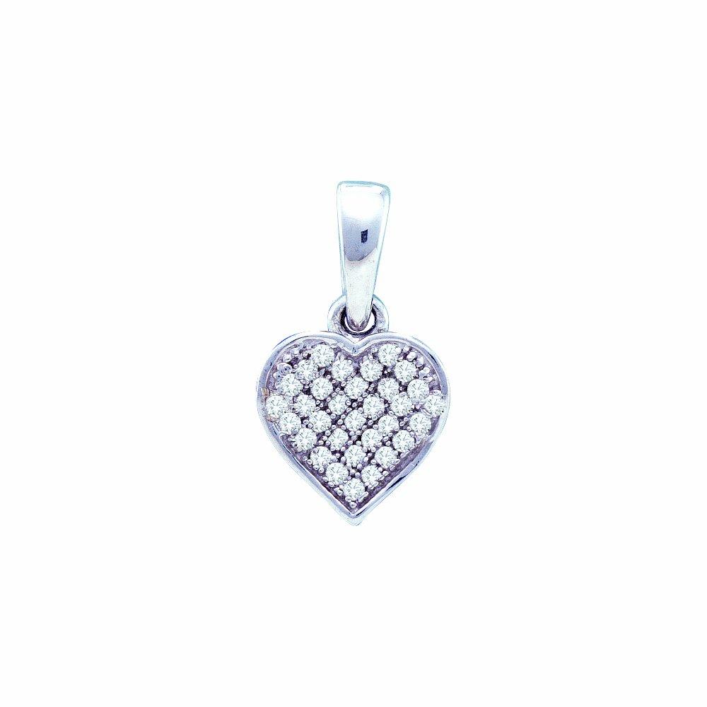 10k White Gold Round Micro Pave Set Love Heart Shape Diamond Pendant - 8mm Width 14mm Height (1/10 cttw)