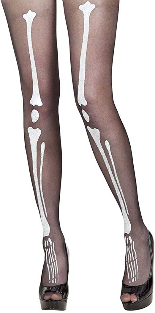 Skeleton Bone Printed Tights Stockings Halloween Fancy Dress Party Accessory